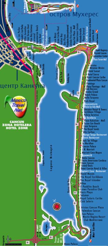 Карта отельной зоны Канкуна с отелями