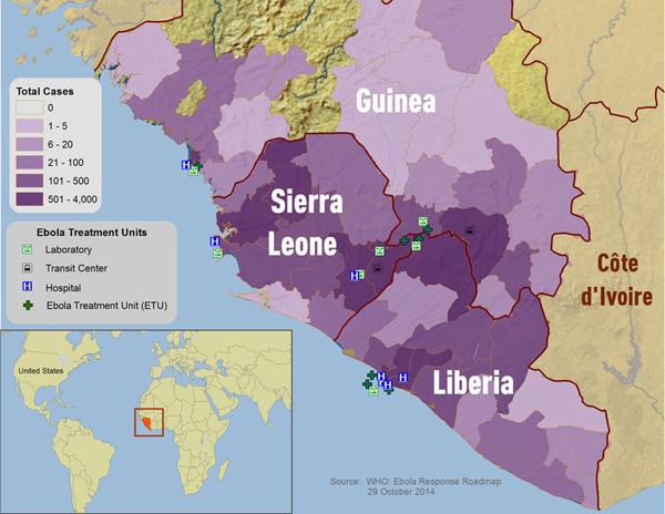 карта распространения Эболы на 31 октября