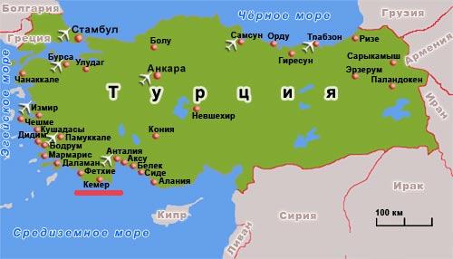 Кемер турция кемер на карте карта