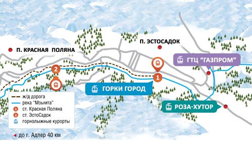 Схема расположения горнолыжных центров в Красной Поялня