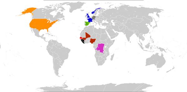 карта случаев Эболы в мире на 25 октября 2014